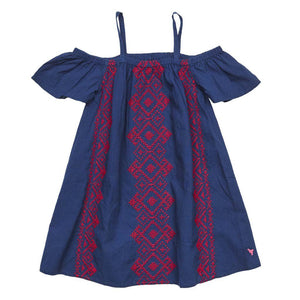 Pink Chicken Charlie Dress 2y estate blue w/tango red emb - 17supc205a