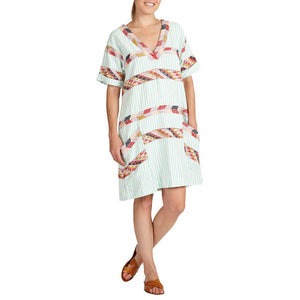 Pink Chicken Cheyenne Dress xs pool blue stripe w/ muti peru emb - 19sspcw182b