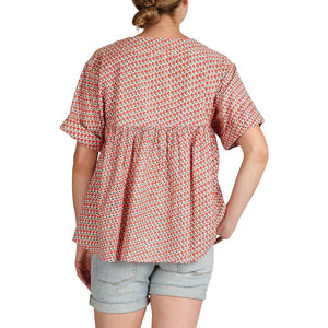 Pink Chicken Cheyenne Top XS antique white diagonal flower - 19spcw358c