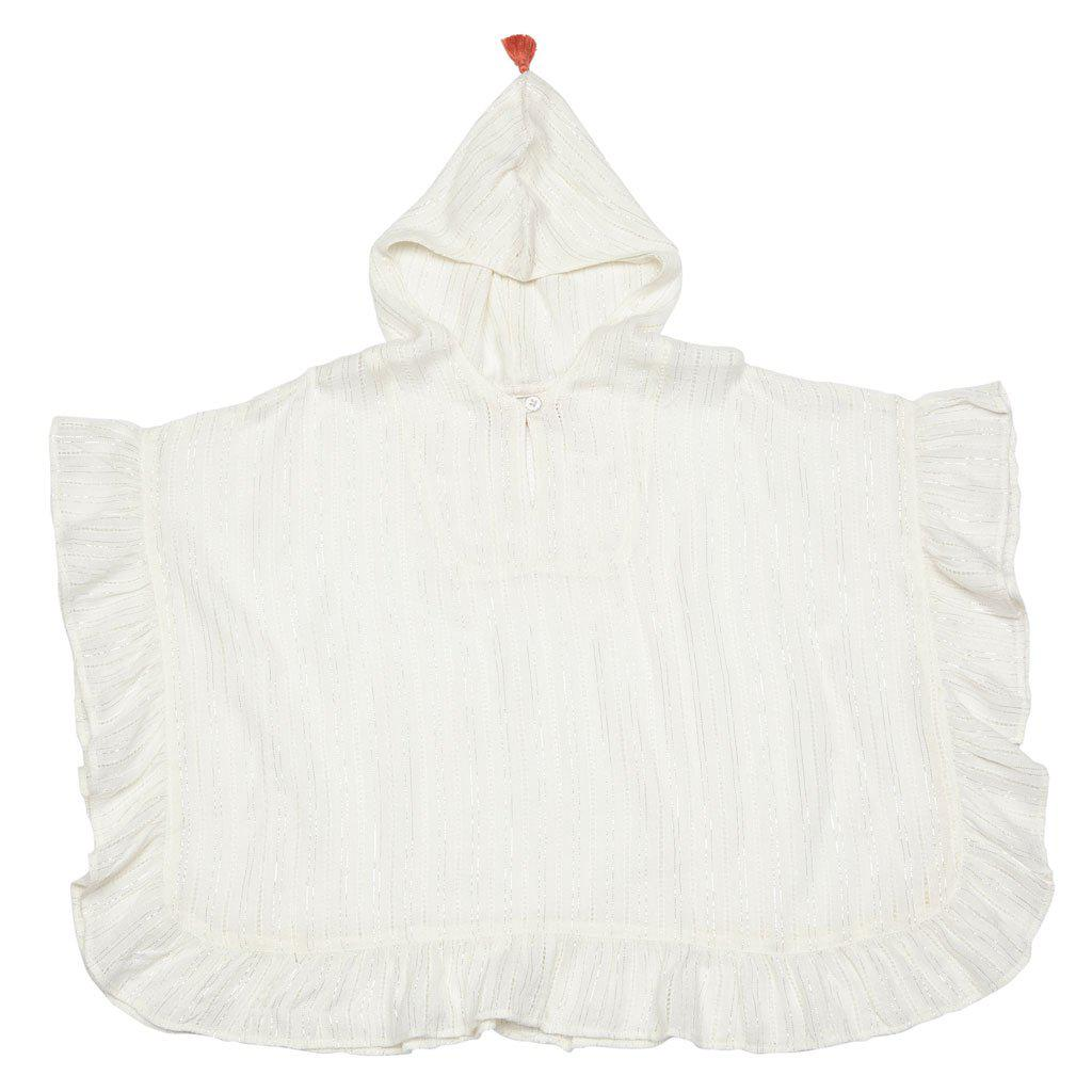 Pink Chicken Chloe beach coverup with hood for girls in antique white