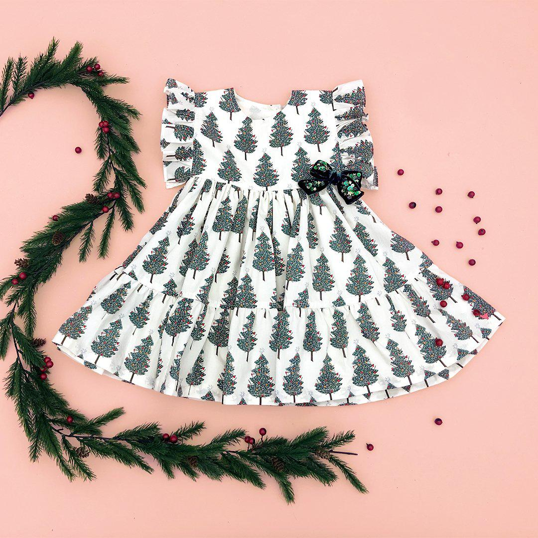 View larger version of Pink Chicken Kit Dress 2y antique white christmas trees - 19hpc375a