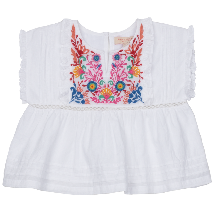 Pink Chicken Clary Top 2y white w/ multi embroidery