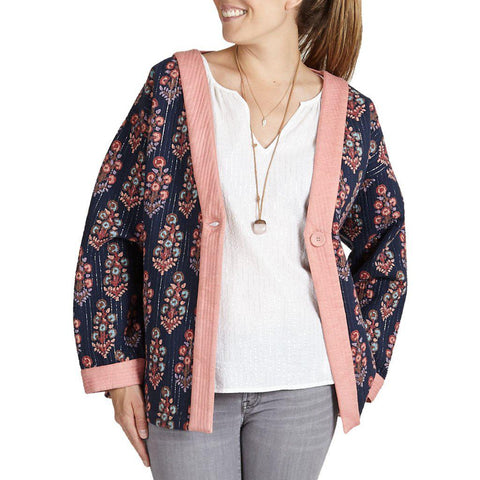 Pink Chicken Coco Quilted Jacket xs/s dress blues flower bunch - 18ffpcw355a