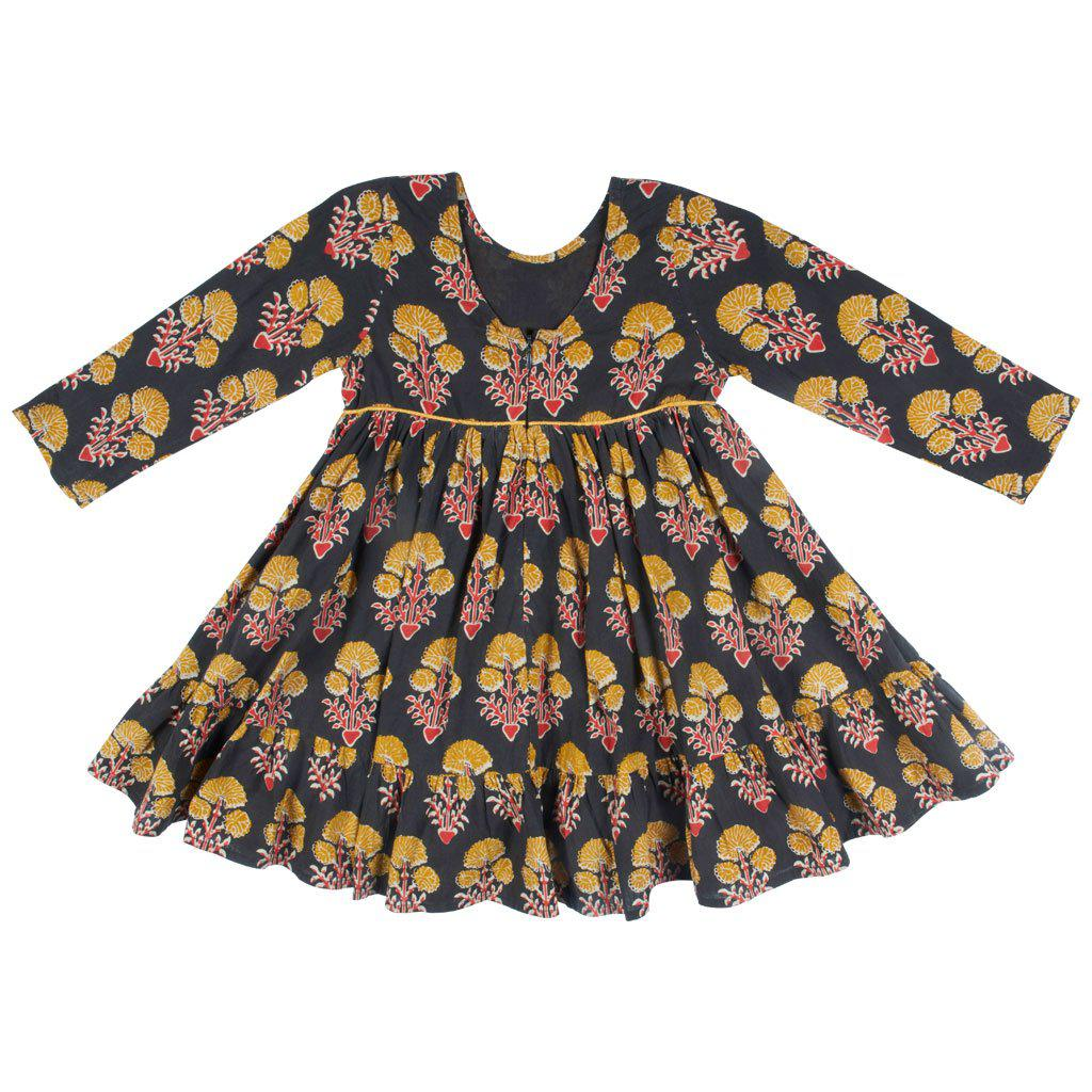 View larger version of Pink Chicken Coralee Dress 2y 19ffpc343a - black medallion floral