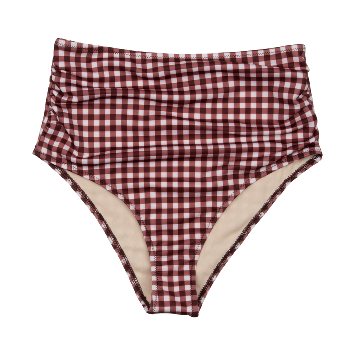 Pink Chicken Courtney Tankini Bottom XS brown gingham