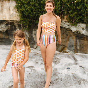 Pink Chicken Courtney Tankini Top XS cloud pink oranges