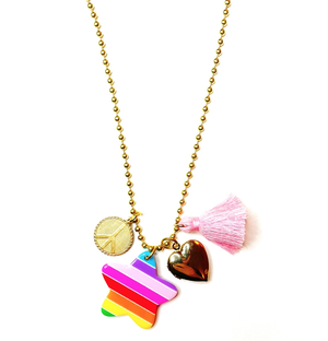 "Pink Chicken ""Love & Peace"" Charms Necklace"