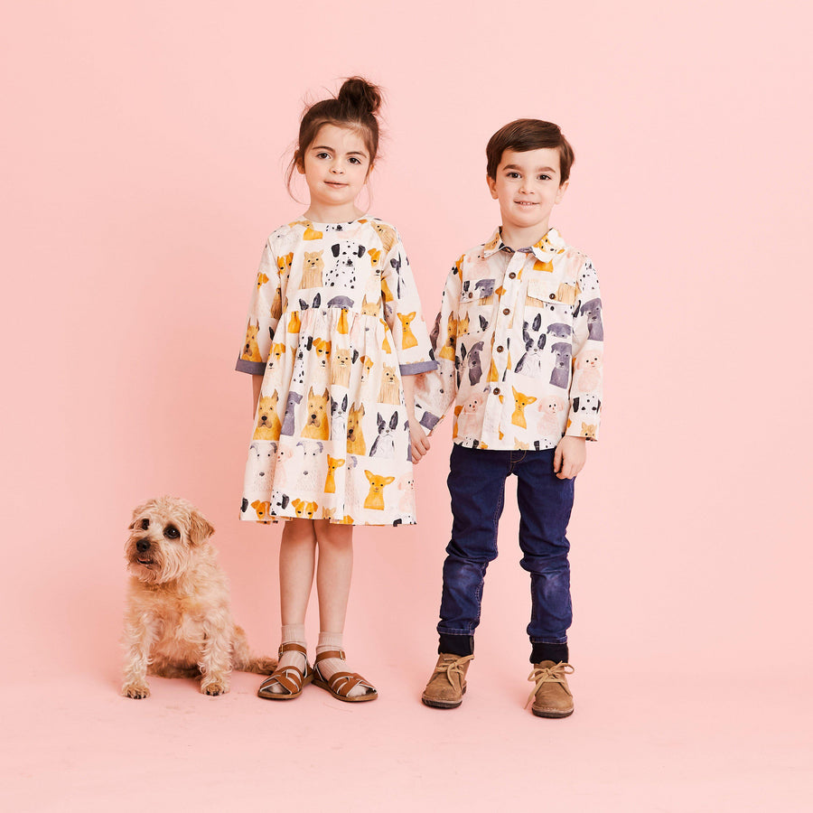 Pink Chicken Jack Shirt 2Y multi watercolor dogs
