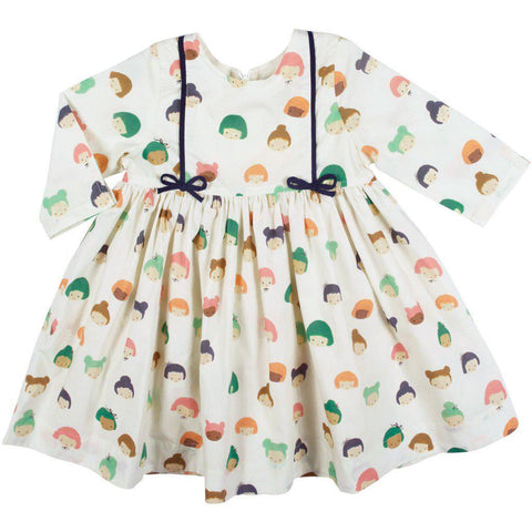 Pink Chicken Dollie Dress 2y antique white multi dolls - 19fpc332a