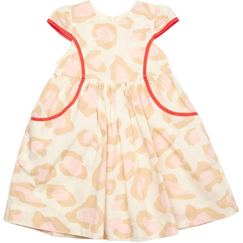 Pink Chicken Eden Dress 2y antique white oversized leopard - 19spc313a