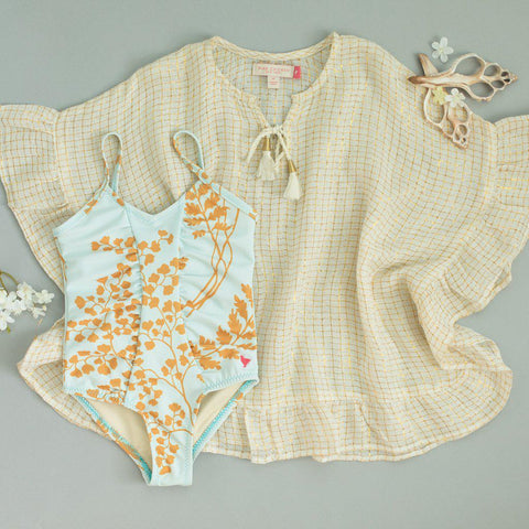 Pink Chicken Chloe Coverup 2/3y white w/ gold tattersall - 19spcs198a