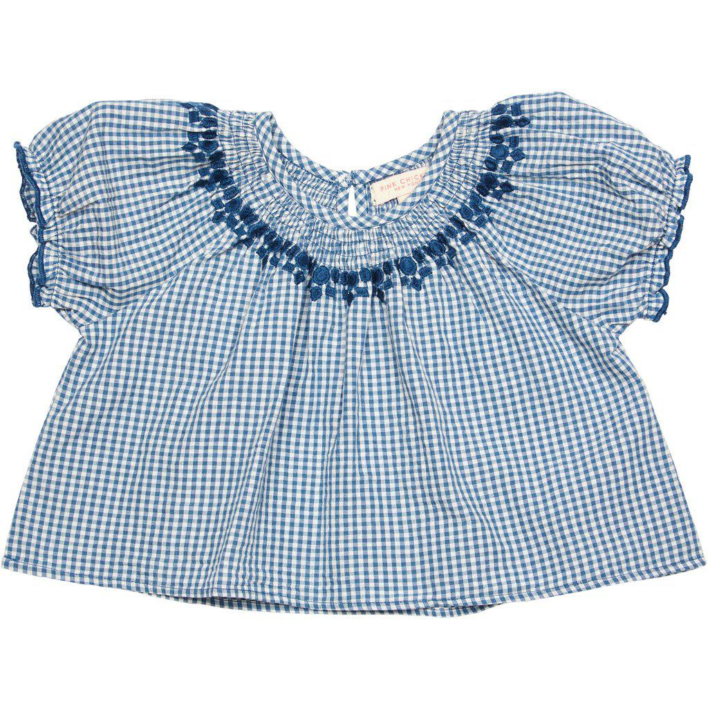 Pink Chicken Elle Top 2y china blue gingham - 19spc290b