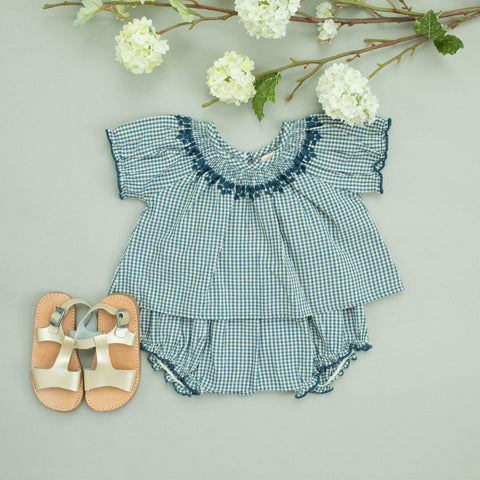 Pink Chicken Elle 2-Piece Set 3/6m china blue gingham - 19spcb808a