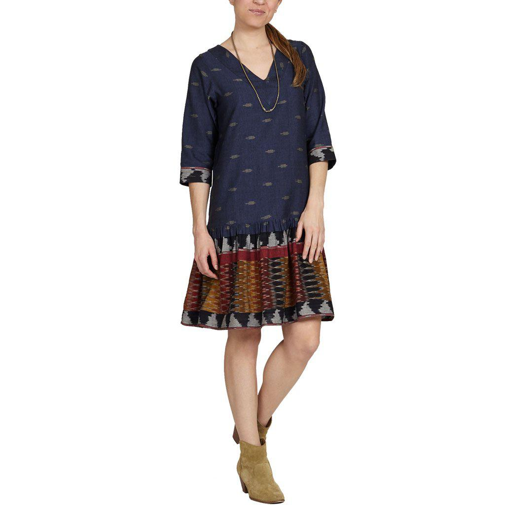 Pink Chicken Espy Dress XS navy border ikat - 18fpcw174a