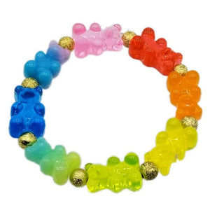 Pink Chicken Rainbow gummy bear stretch bracelet