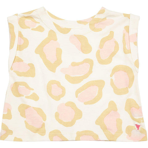 Pink Chicken Finley Top 2y antique white oversized leopard - 19spc644a