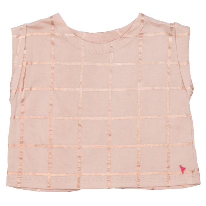 Pink Chicken Finley Top 2y cloud pink w/ rose gold tattersall
