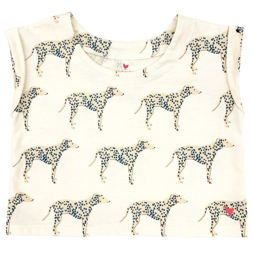 Pink Chicken Finley Top 2y antique white dalmatian - 19spc644b