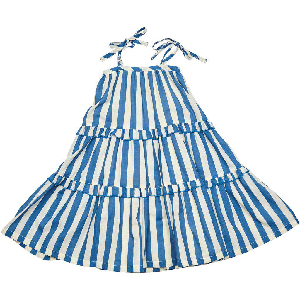 Garden Dress with blue and white striped combo.