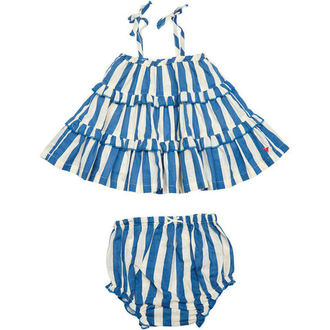 Baby Garden 2-piece set in dress blues stripe/white.