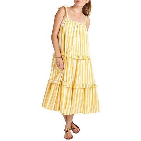 Women wearing yellow and white striped garden dress.