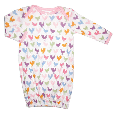 Long sleeve baby gown with colorful pink chicken logo