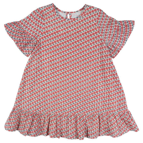 Pink Chicken Halsy Dress 2y antique white diagonal flower - 19spc354a
