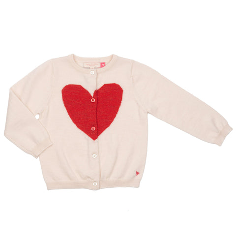 Pink Chicken Hannah Heart Sweater 2y ivory w/chrysanthemum heart - 20espc606a
