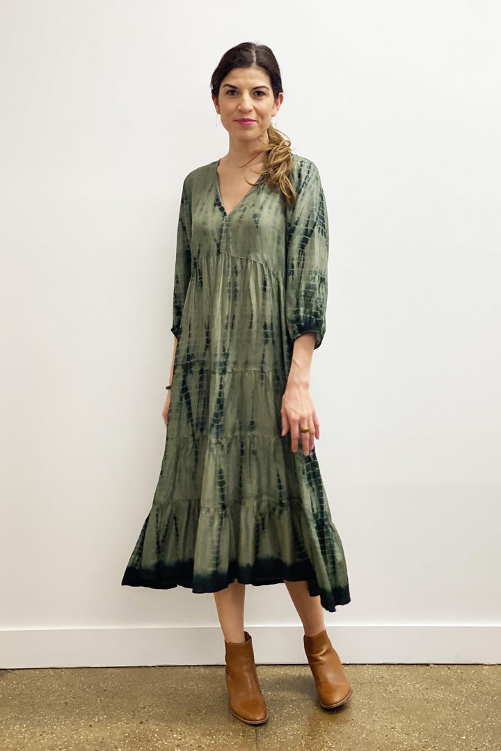 Pink Chicken Imogyn Dress XS rosin/olive green silk