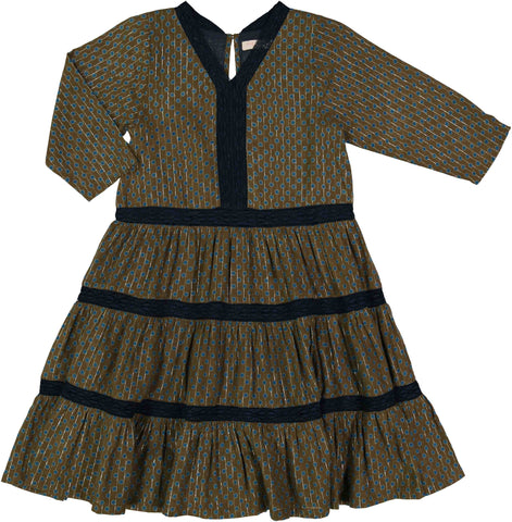 Pink Chicken Indy Dress 2y dark olive polka dot - 18ffpc165b