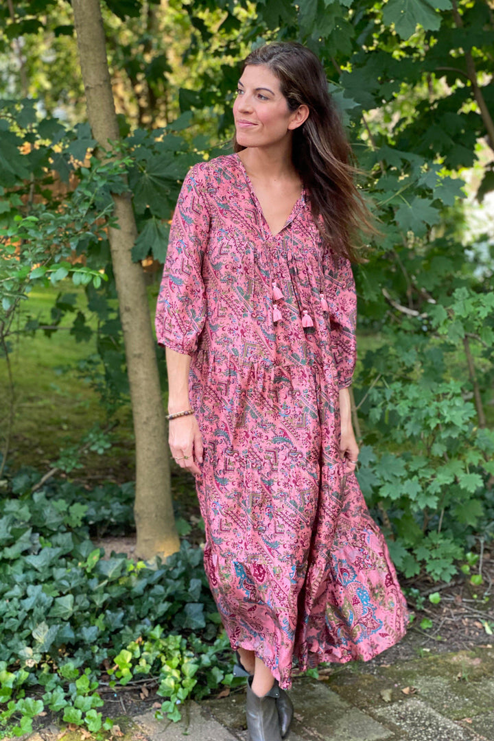 Pink Chicken Indira Dress XS pink paisley silk