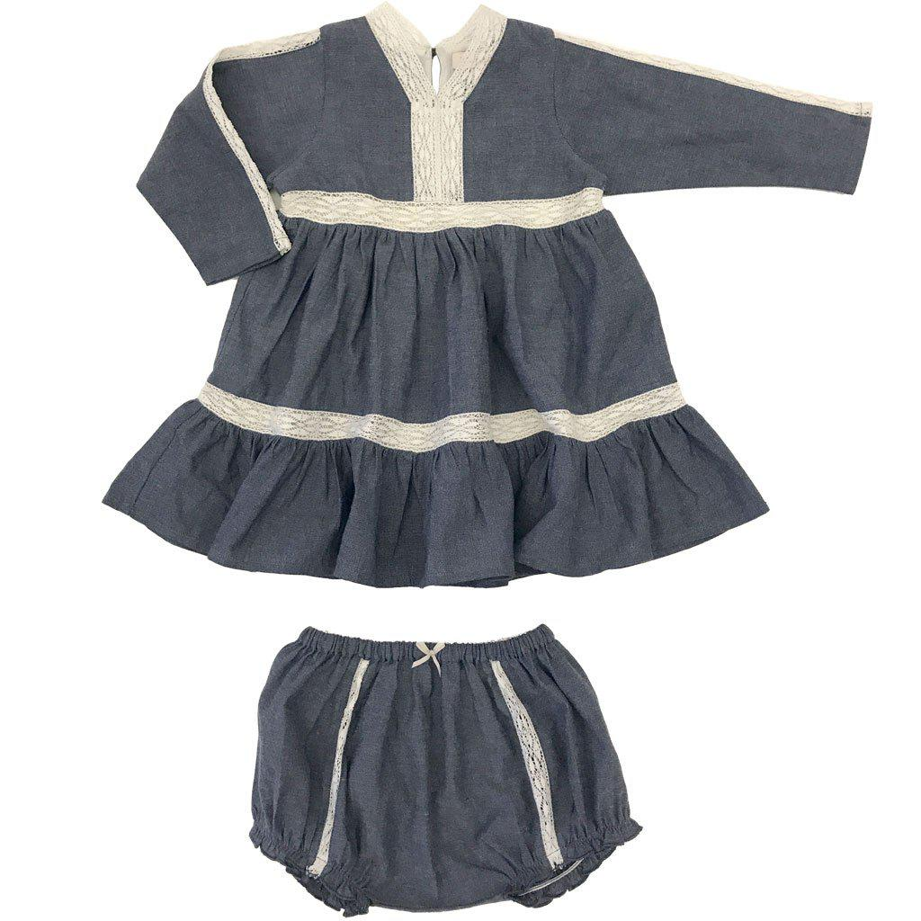 Pink Chicken Indy Dress Set 3/6m chambray - 18ffpcb939b