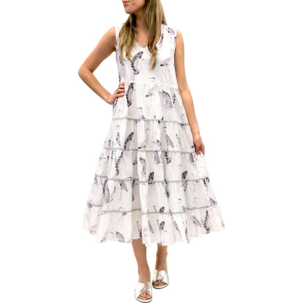 Model in Pink Chicken Iris Dress in antique white with herons print
