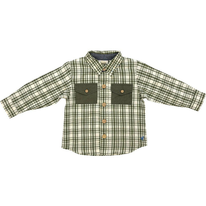 Pink Chicken Jack Shirt 2y 19fbr100b - army green plaid