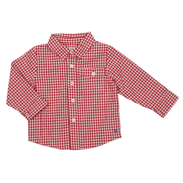 Pink Chicken Baby Jack Shirt 3/6m red gingham - 20esbrb205a
