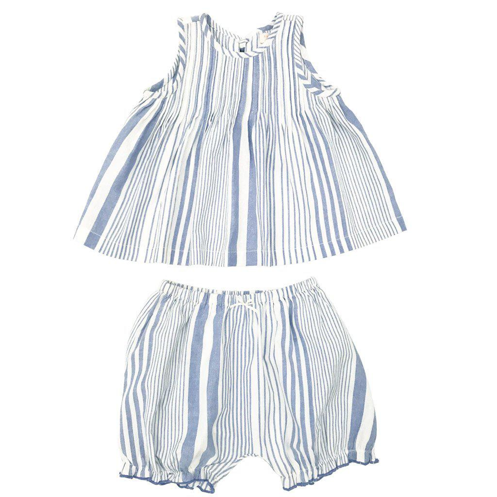 Pink Chicken Jaipur two piece set in a blue vintage stripe print for babies includes sleeveless top with tie closure in back and matching shorts