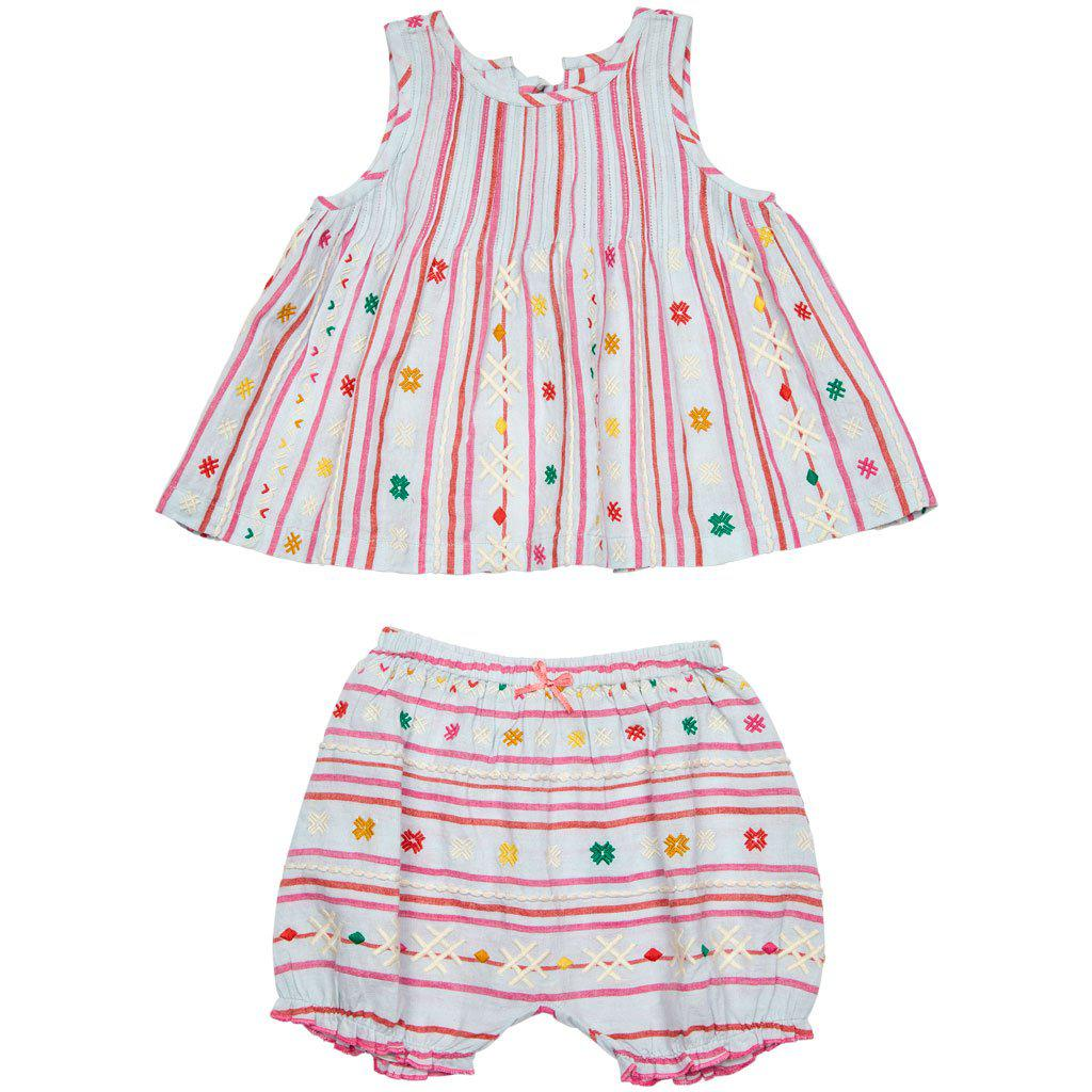 Pink Chicken Jaipur 2-Piece Set 3/6m wan blue serape embroidery - 19sspcb544b