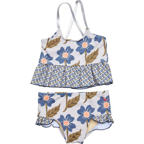 Pink Chicken Joy Tankini 2y vapor blue diagonal flower - 19spcs119b