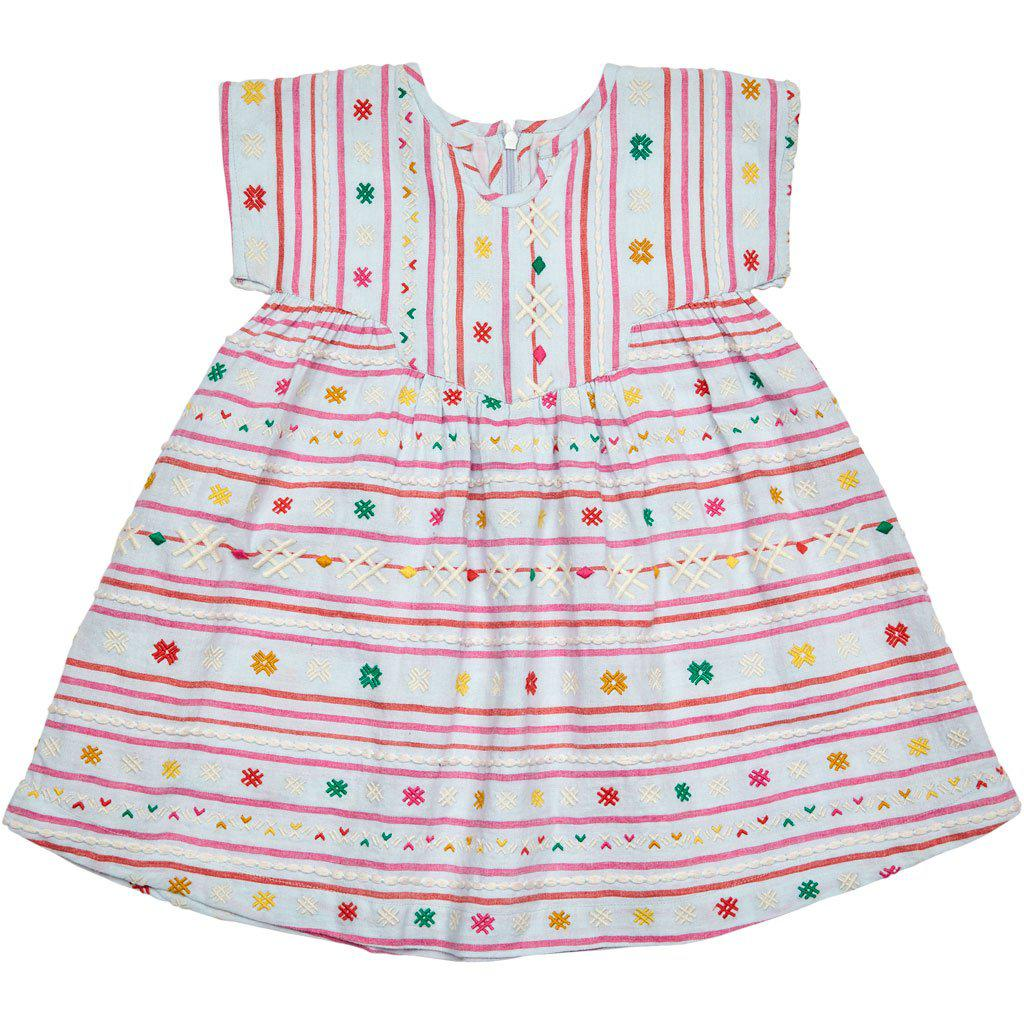 Pink Chicken Juno Dress 2y wan blue serape embroidery - 19sspc232a