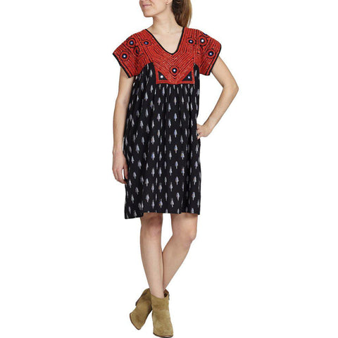 Pink Chicken Juno Dress xs black ikat w/red embroidery - 18ffpcw187a