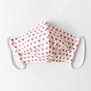 Pink Chicken Kid's Face Mask & Bow Set - Red Hearts