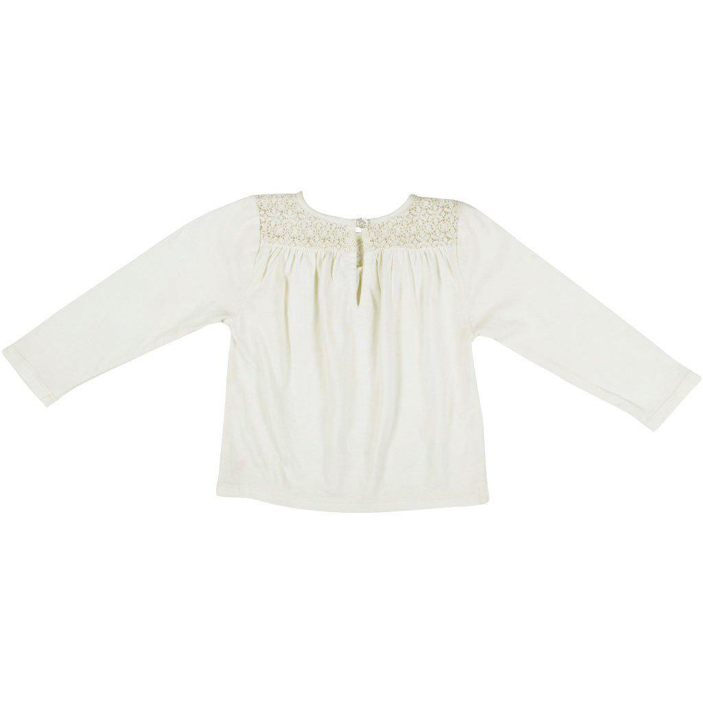 View larger version of Pink Chicken Kinsley Top 2y antique white w/lace - 19fpc353a