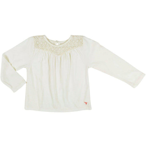 Pink Chicken Kinsley Top 2y antique white w/lace - 19fpc353a