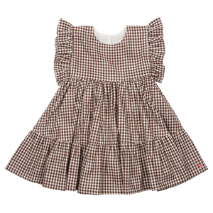 Pink Chicken Kit Dress 2y brown gingham