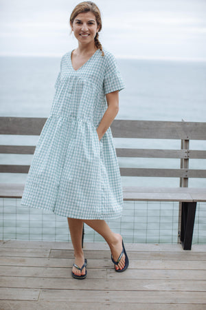 Pink Chicken Kit Dress XS dusty teal gingham