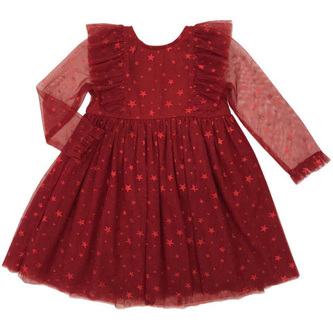 Pink Chicken Baby Kylie Dress 3/6m tango red w/ foil star - 18hpcb933a