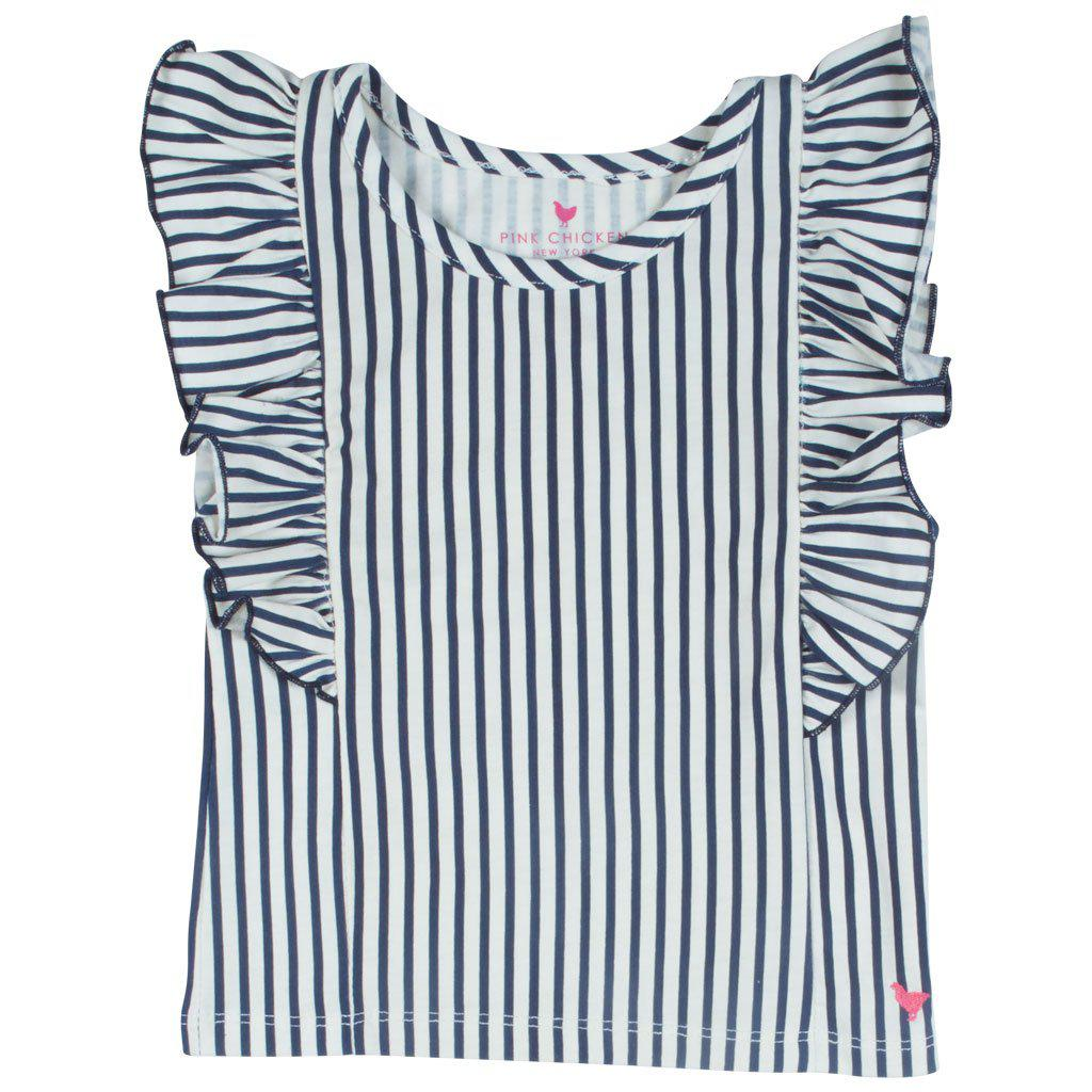 Pink Chicken Kylie Stripe Top 2y dress blues skinny stripe - 19sspc262b