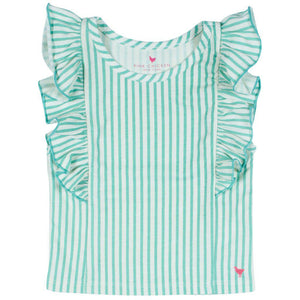 Pink Chicken Kylie Stripe Top 2y dusty jade green skinny stripe - 19sspc262a