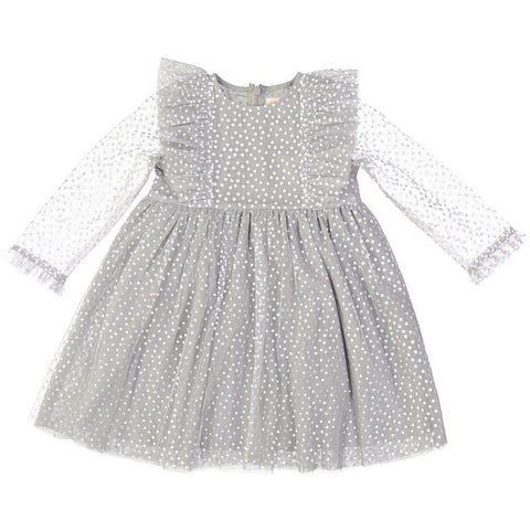 Pink Chicken Kylie Dress 2y 17hpc255a - grey mesh w foil dots