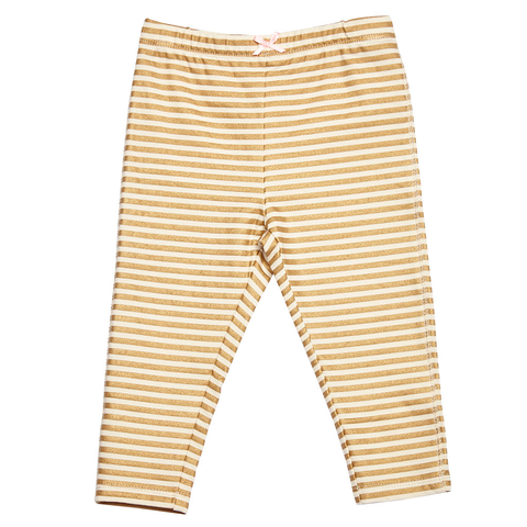 Pink Chicken Capri Legging 2y gold metallic stripes - 17spc505f